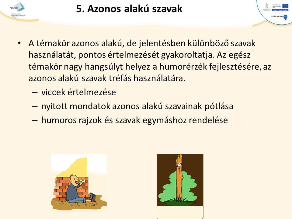 5. Azonos alakú szavak