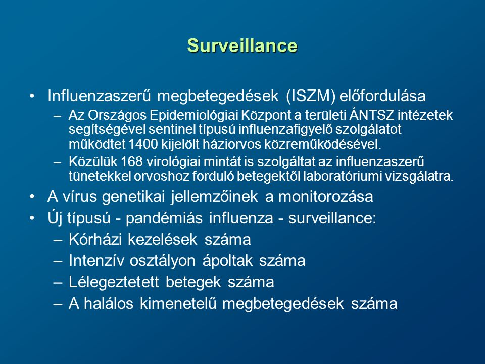 Surveillance Influenzaszerű megbetegedések (ISZM) előfordulása