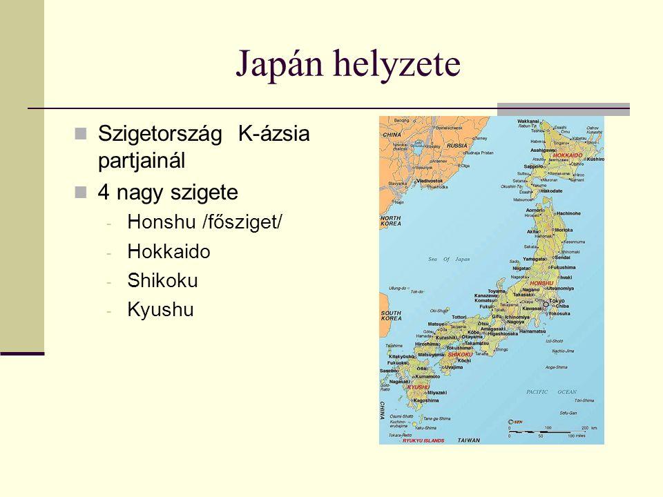 Japán helyzete Szigetország K-ázsia partjainál 4 nagy szigete