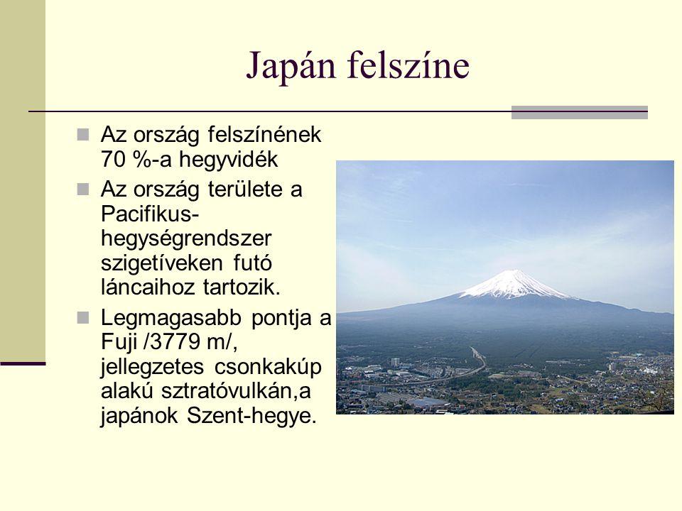 Japán felszíne Az ország felszínének 70 %-a hegyvidék