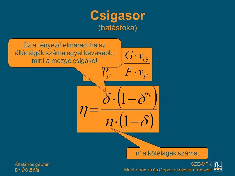 Csigasor (hatásfoka) Ez a tényező elmarad, ha az állócsigák száma egyel kevesebb, mint a mozgó csigáké!