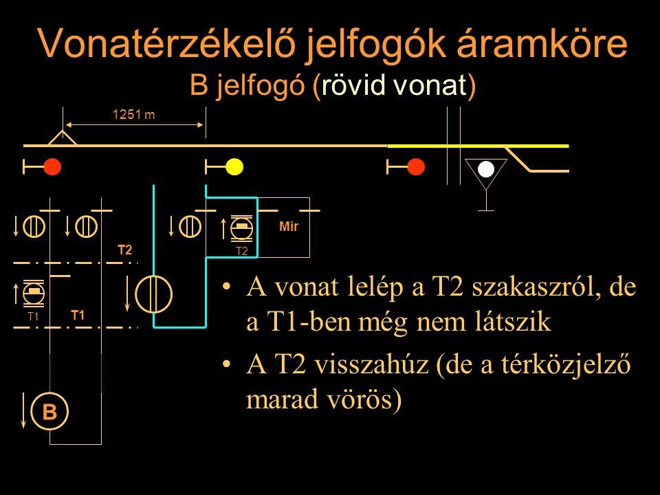Vonatérzékelő jelfogók áramköre B jelfogó (rövid vonat)