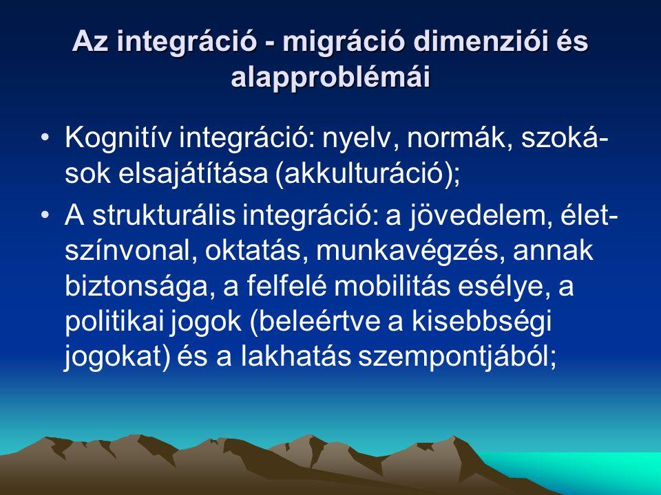 Az integráció - migráció dimenziói és alapproblémái