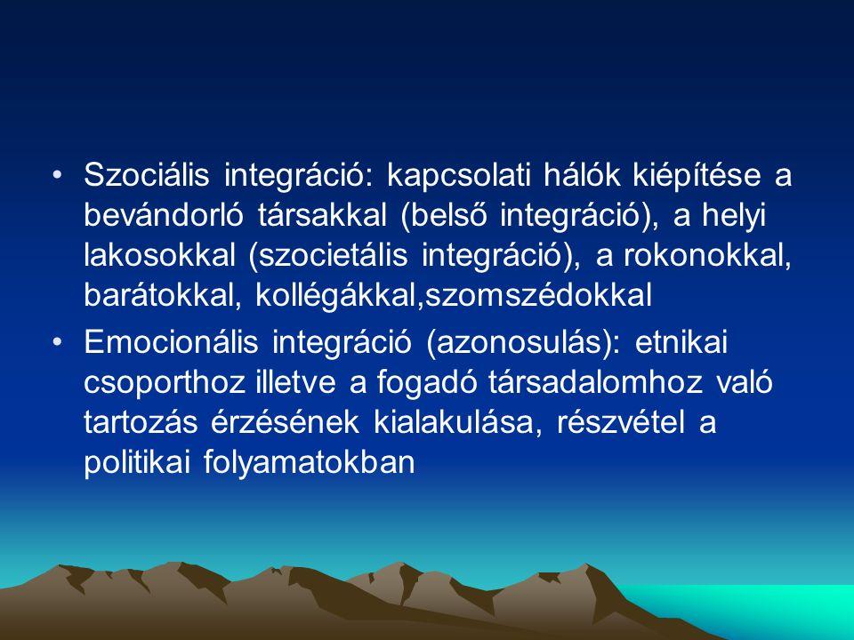 Szociális integráció: kapcsolati hálók kiépítése a bevándorló társakkal (belső integráció), a helyi lakosokkal (szocietális integráció), a rokonokkal, barátokkal, kollégákkal,szomszédokkal