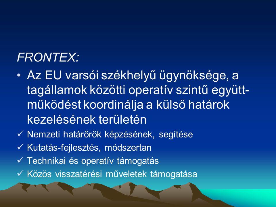 FRONTEX: Az EU varsói székhelyű ügynöksége, a tagállamok közötti operatív szintű együtt-működést koordinálja a külső határok kezelésének területén.