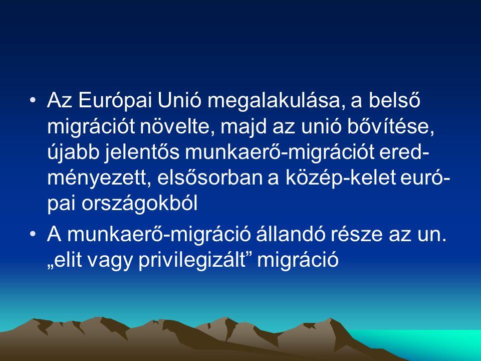 Az Európai Unió megalakulása, a belső migrációt növelte, majd az unió bővítése, újabb jelentős munkaerő-migrációt ered-ményezett, elsősorban a közép-kelet euró-pai országokból
