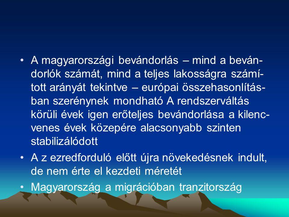 A magyarországi bevándorlás – mind a beván-dorlók számát, mind a teljes lakosságra számí-tott arányát tekintve – európai összehasonlítás-ban szerénynek mondható A rendszerváltás körüli évek igen erőteljes bevándorlása a kilenc-venes évek közepére alacsonyabb szinten stabilizálódott