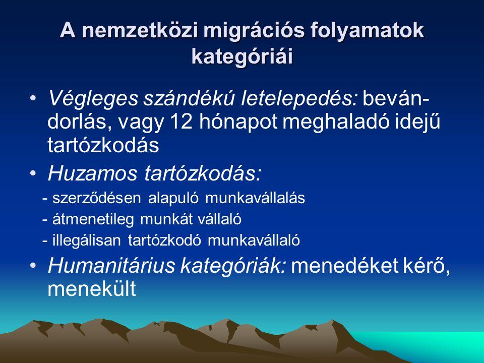 A nemzetközi migrációs folyamatok kategóriái