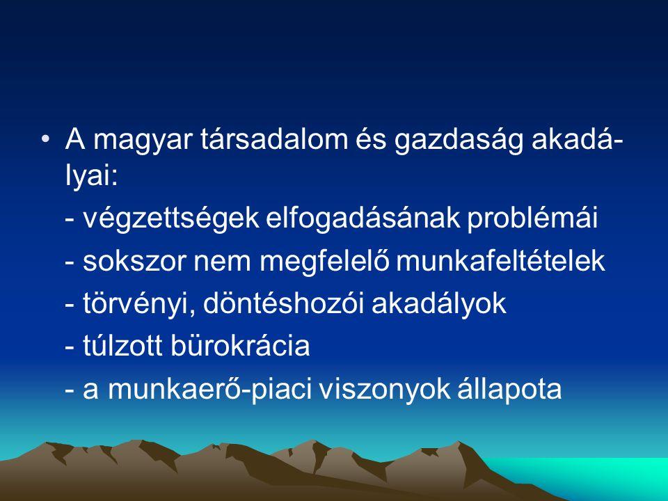 A magyar társadalom és gazdaság akadá-lyai: