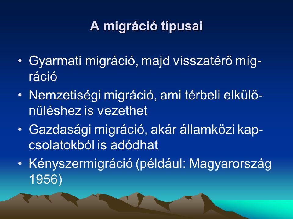 A migráció típusai Gyarmati migráció, majd visszatérő míg-ráció. Nemzetiségi migráció, ami térbeli elkülö-nüléshez is vezethet.