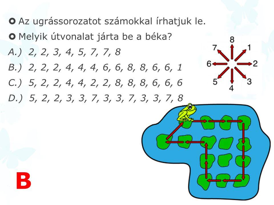 B Az ugrássorozatot számokkal írhatjuk le.