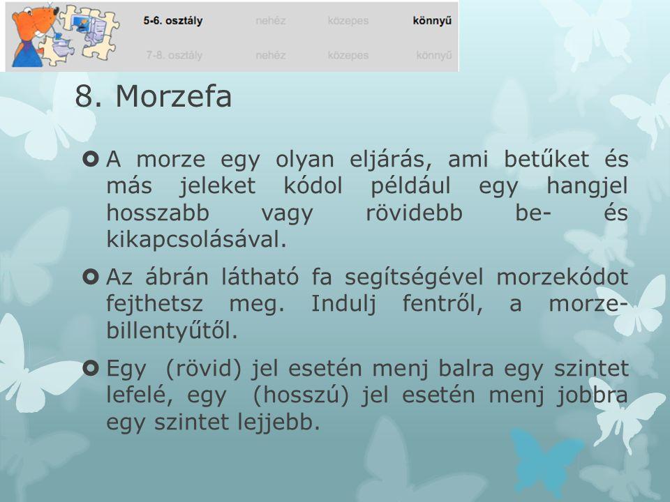 8. Morzefa A morze egy olyan eljárás, ami betűket és más jeleket kódol például egy hangjel hosszabb vagy rövidebb be- és kikapcsolásával.