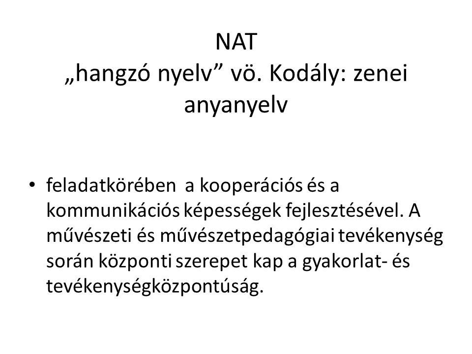"NAT ""hangzó nyelv vö. Kodály: zenei anyanyelv"