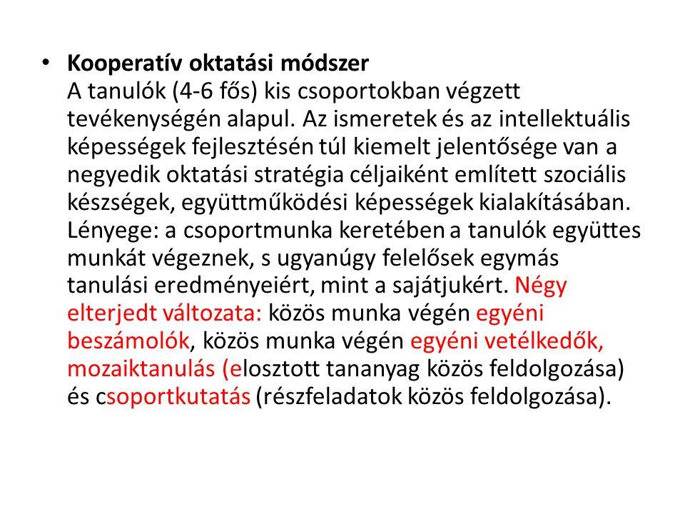 Kooperatív oktatási módszer A tanulók (4-6 fős) kis csoportokban végzett tevékenységén alapul.