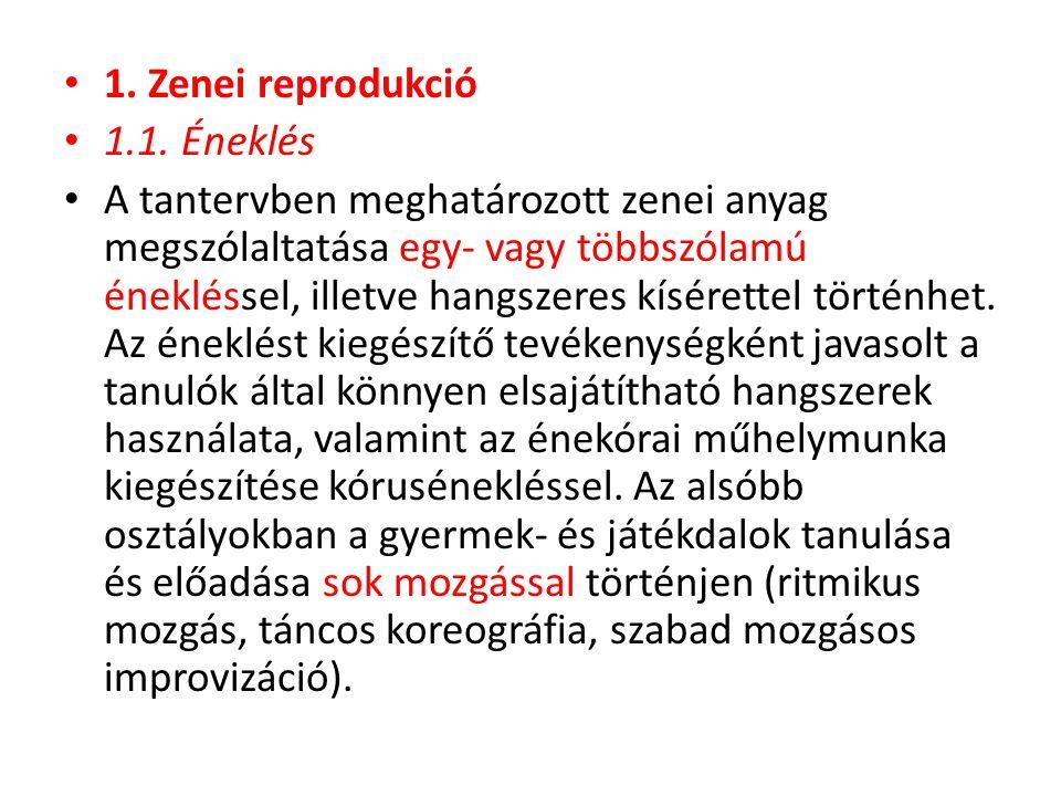 1. Zenei reprodukció 1.1. Éneklés.