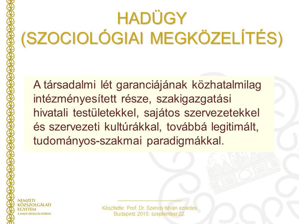 HADÜGY (SZOCIOLÓGIAI MEGKÖZELÍTÉS)