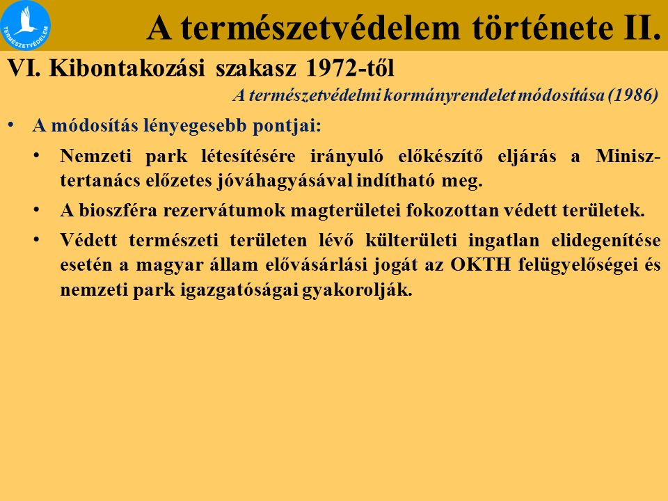 A természetvédelem története II.