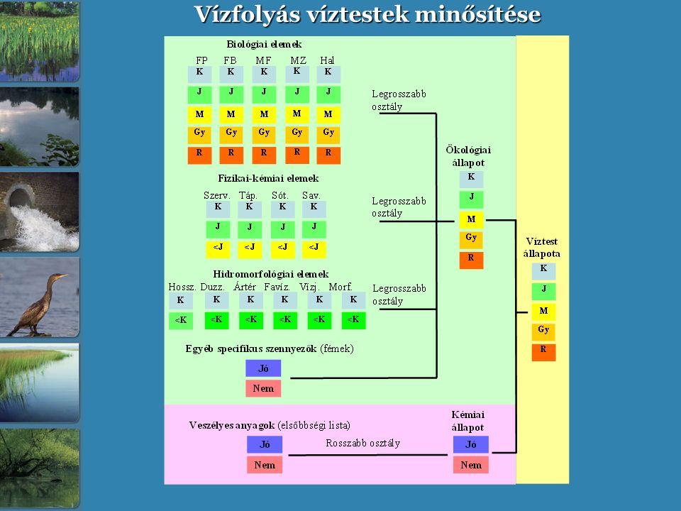 Vízfolyás víztestek minősítése