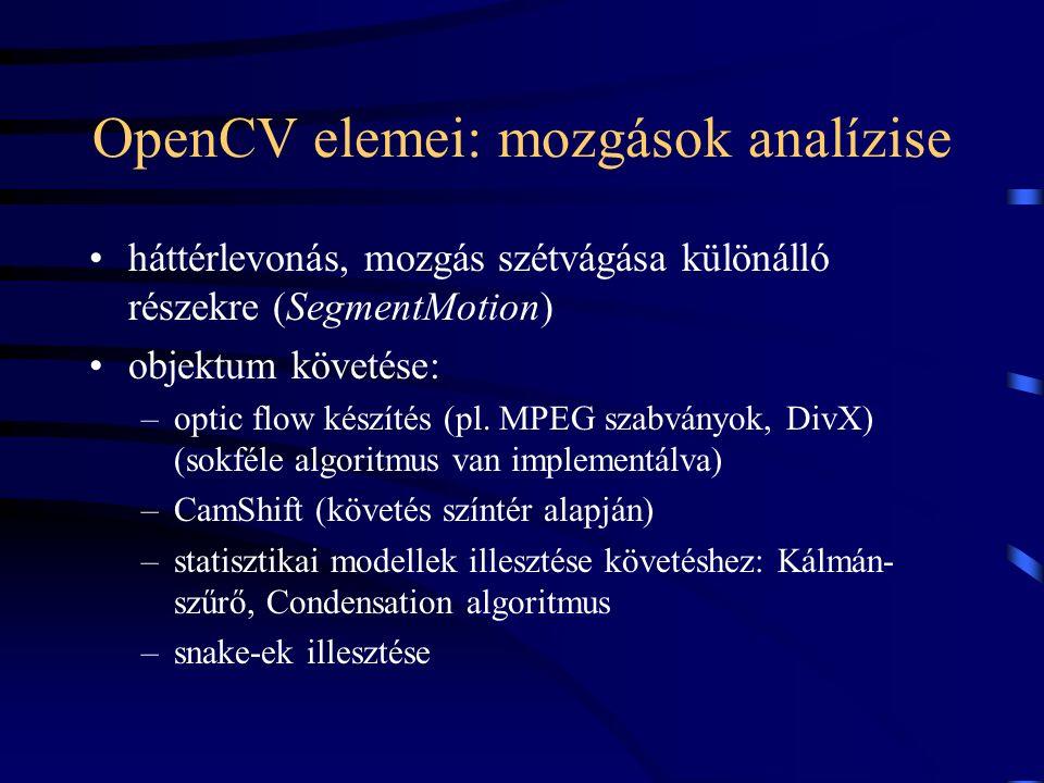 OpenCV elemei: mozgások analízise