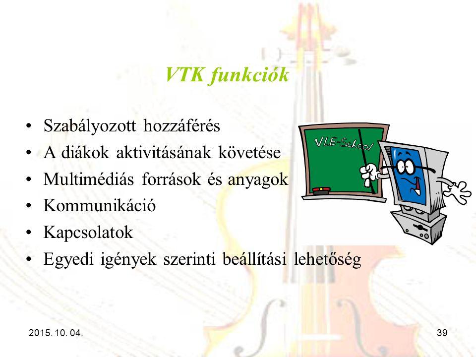 VTK funkciók Szabályozott hozzáférés A diákok aktivitásának követése