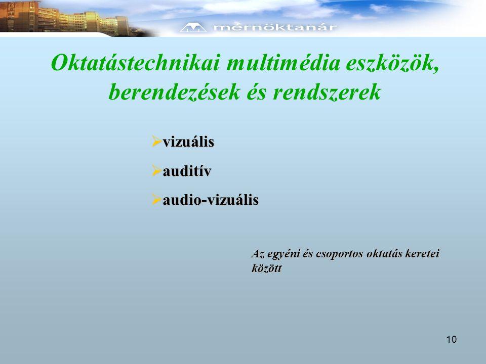 Oktatástechnikai multimédia eszközök, berendezések és rendszerek