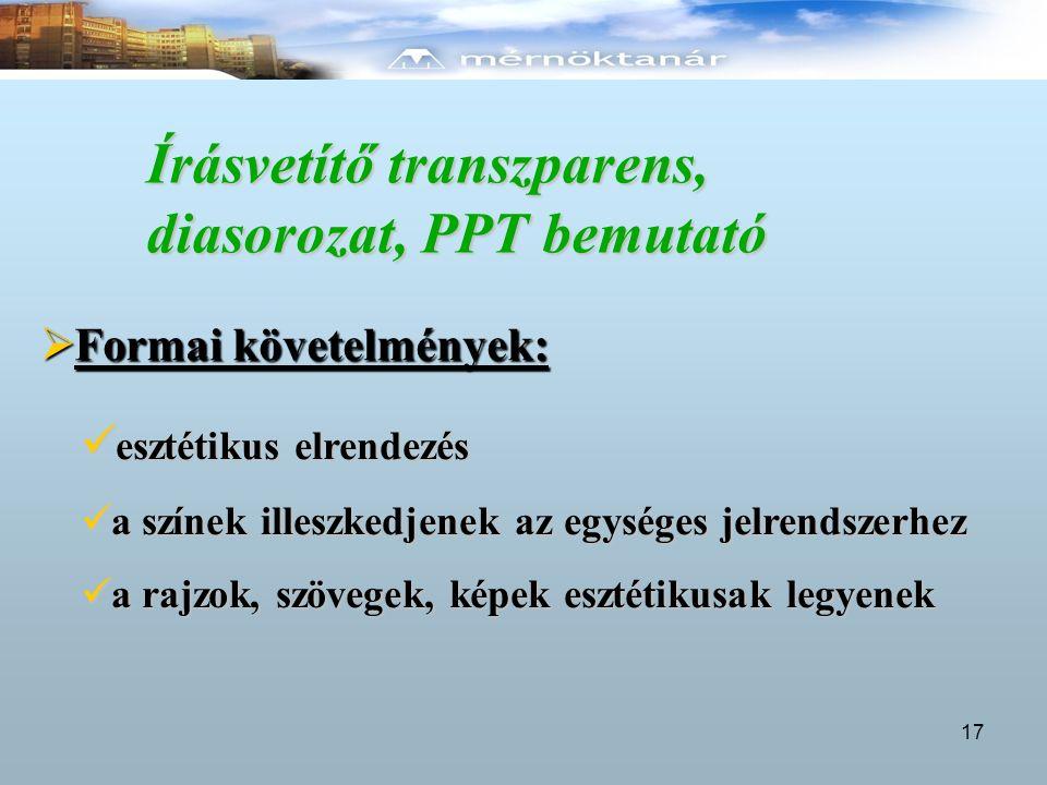 Írásvetítő transzparens, diasorozat, PPT bemutató