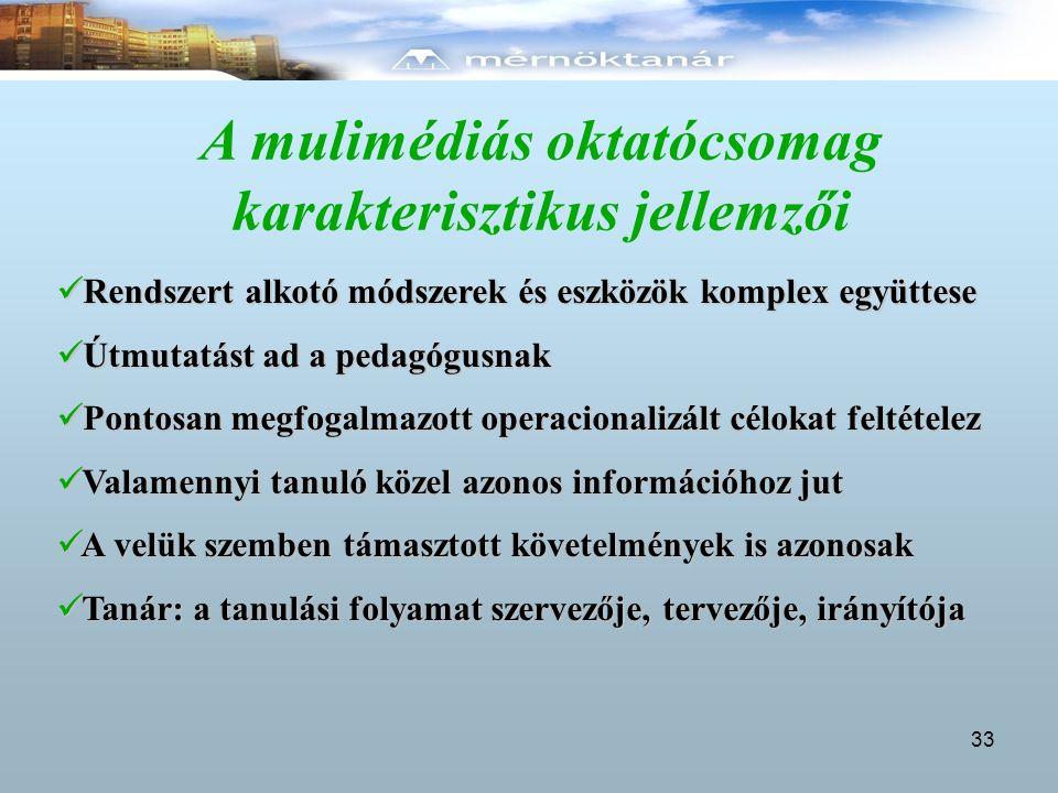 A mulimédiás oktatócsomag karakterisztikus jellemzői