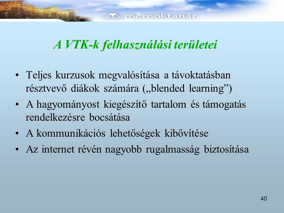 A VTK-k felhasználási területei