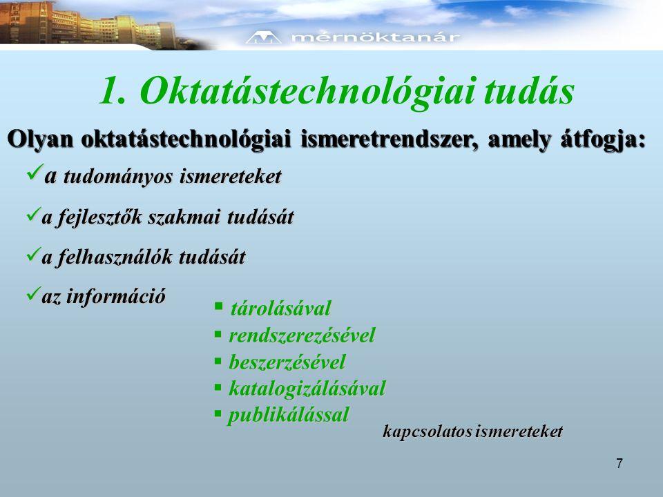 1. Oktatástechnológiai tudás