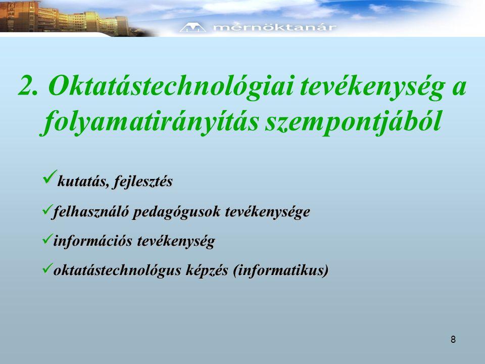 2. Oktatástechnológiai tevékenység a folyamatirányítás szempontjából