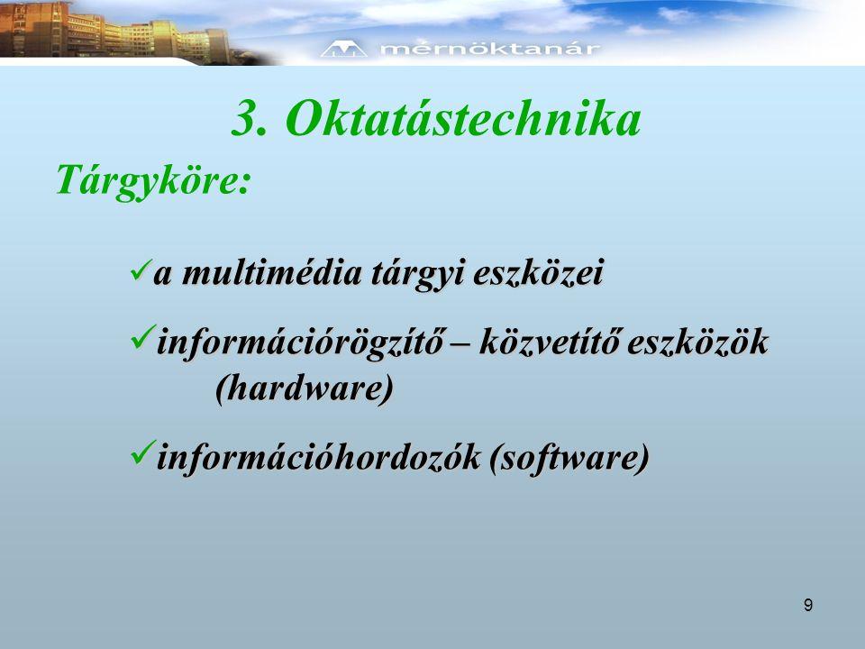 3. Oktatástechnika Tárgyköre:
