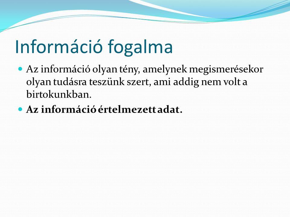 Információ fogalma Az információ olyan tény, amelynek megismerésekor olyan tudásra teszünk szert, ami addig nem volt a birtokunkban.