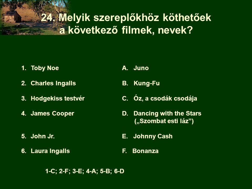 24. Melyik szereplőkhöz köthetőek a következő filmek, nevek