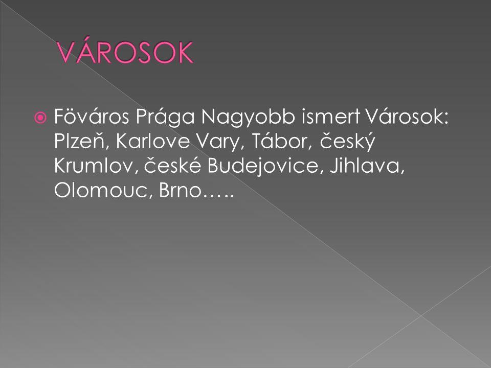 VÁROSOK Föváros Prága Nagyobb ismert Városok: Plzeň, Karlove Vary, Tábor, český Krumlov, české Budejovice, Jihlava, Olomouc, Brno…..