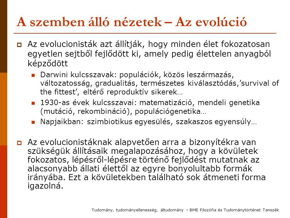 A szemben álló nézetek – Az evolúció