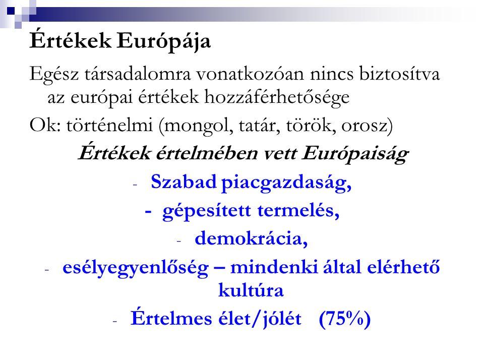 Értékek Európája Egész társadalomra vonatkozóan nincs biztosítva az európai értékek hozzáférhetősége.