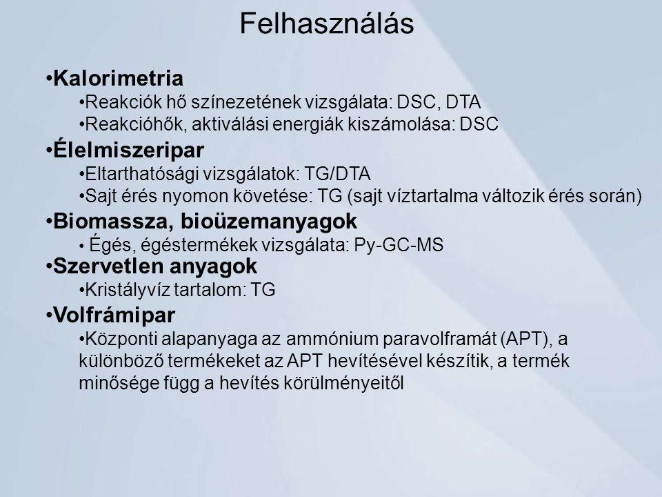 Felhasználás Kalorimetria Élelmiszeripar Biomassza, bioüzemanyagok