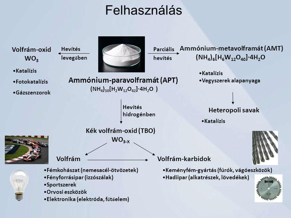 Felhasználás Ammónium-paravolframát (APT) Volfrám-oxid WO3