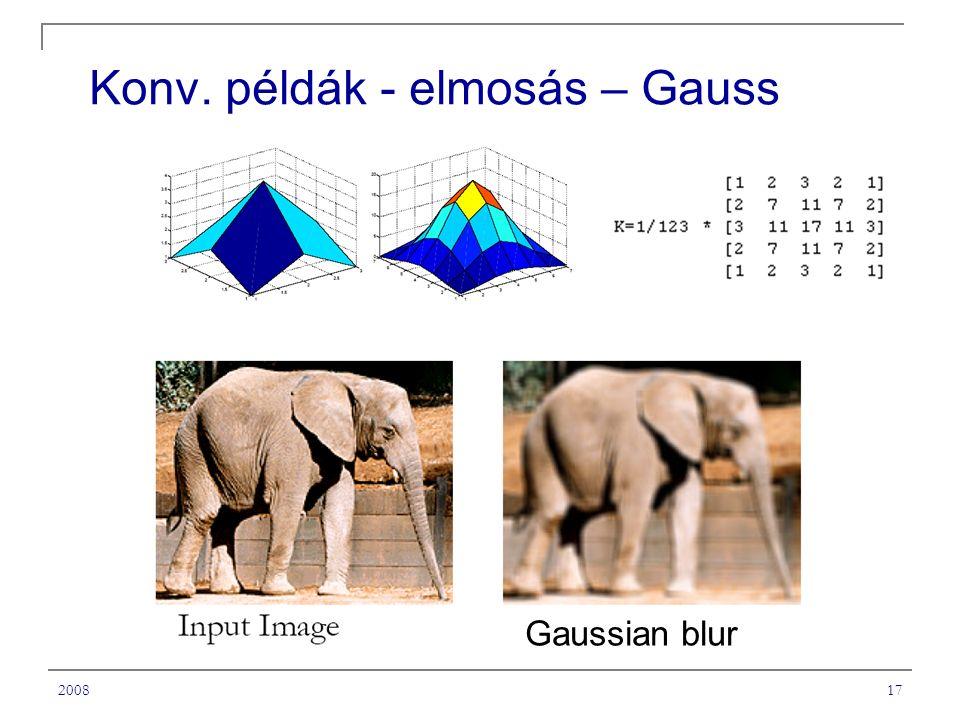 Konv. példák - elmosás – Gauss