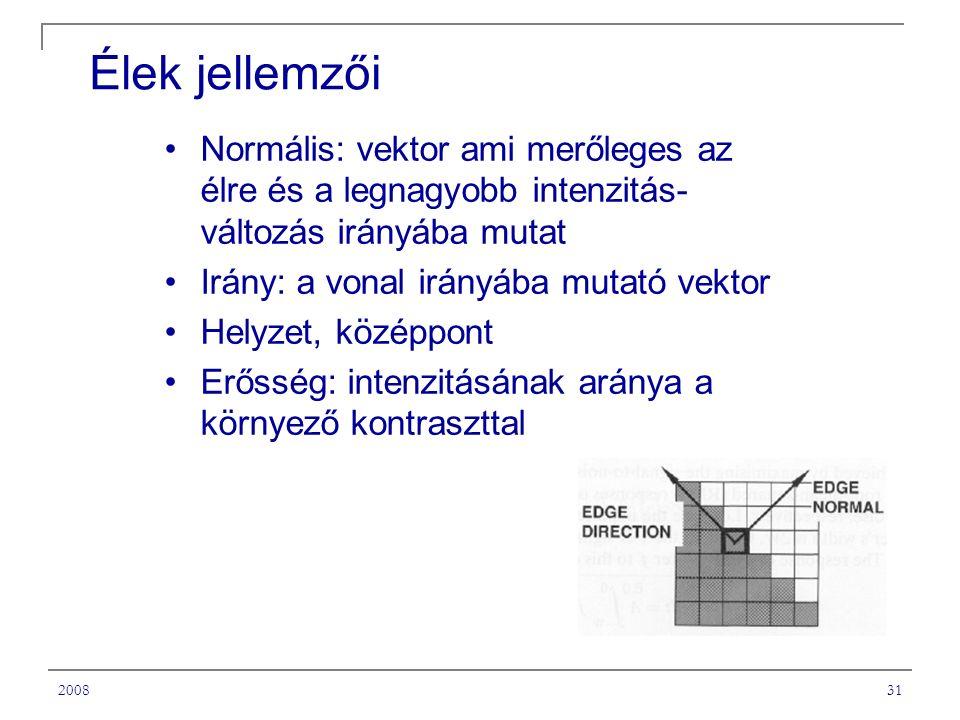A Tantárgy címe Élek jellemzői. Normális: vektor ami merőleges az élre és a legnagyobb intenzitás-változás irányába mutat.