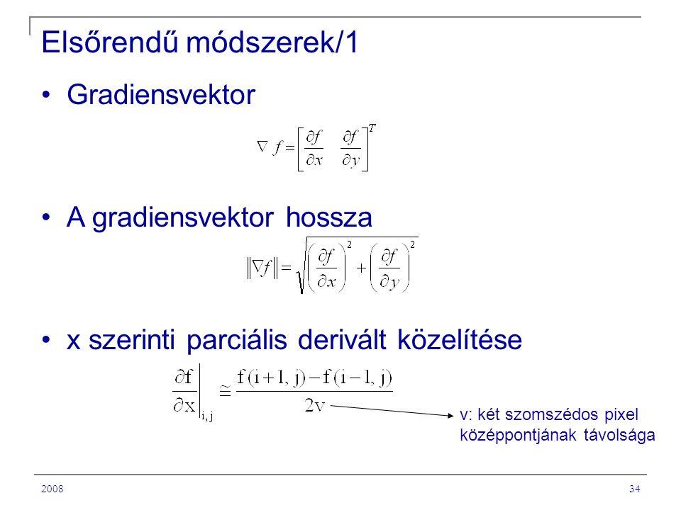 Elsőrendű módszerek/1 Gradiensvektor A gradiensvektor hossza