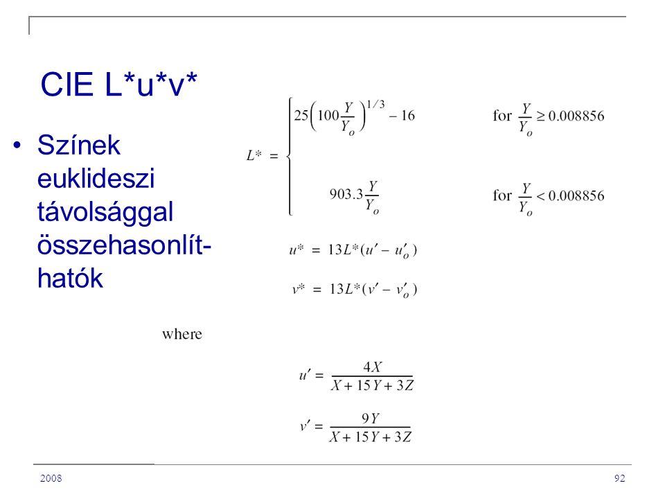 CIE L*u*v* Színek euklideszi távolsággal összehasonlít-hatók 2008