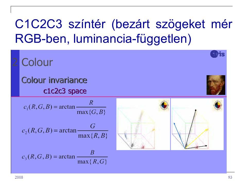 C1C2C3 színtér (bezárt szögeket mér RGB-ben, luminancia-független)