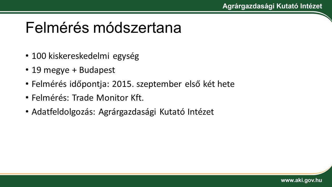 Felmérés módszertana 100 kiskereskedelmi egység 19 megye + Budapest