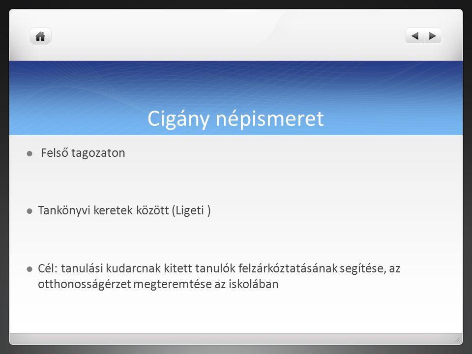 Cigány népismeret Felső tagozaton Tankönyvi keretek között (Ligeti )