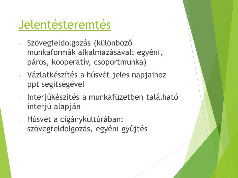 Jelentésteremtés Szövegfeldolgozás (különböző munkaformák alkalmazásával: egyéni, páros, kooperatív, csoportmunka)