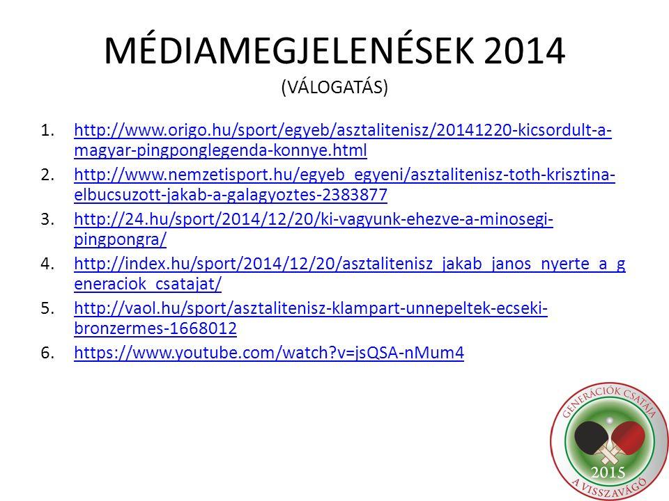 MÉDIAMEGJELENÉSEK 2014 (VÁLOGATÁS)