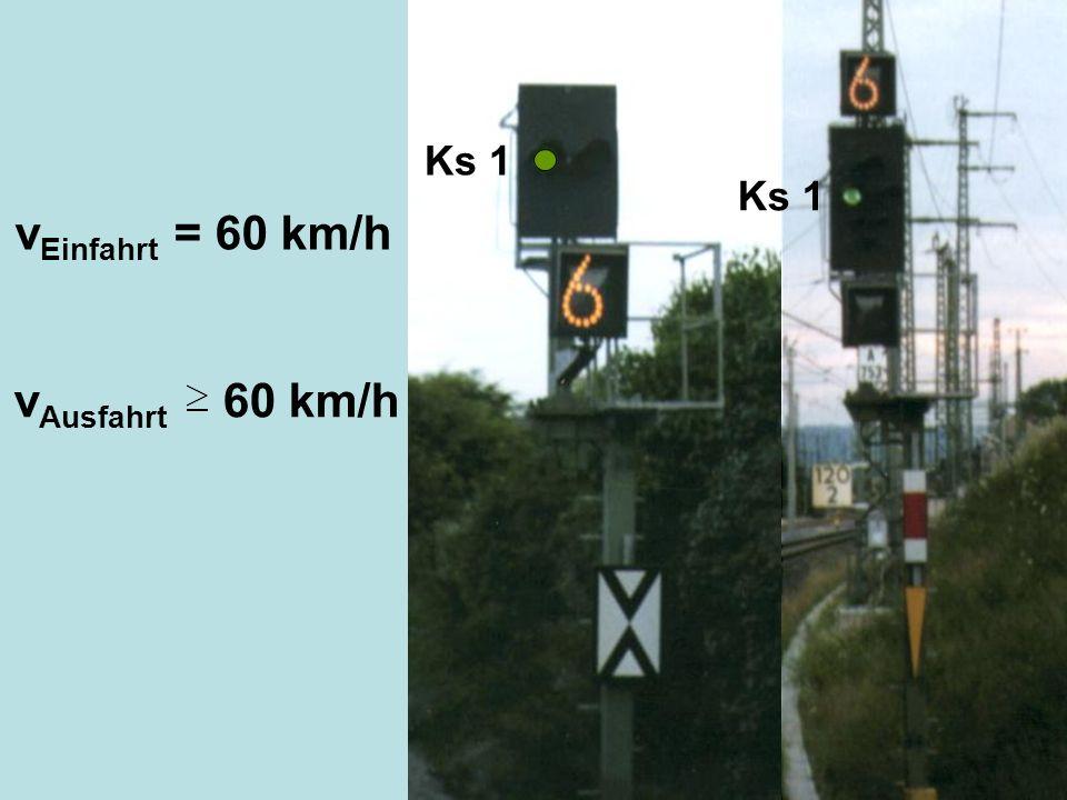 vEinfahrt = 60 km/h vAusfahrt 60 km/h Ks 1 Ks 1