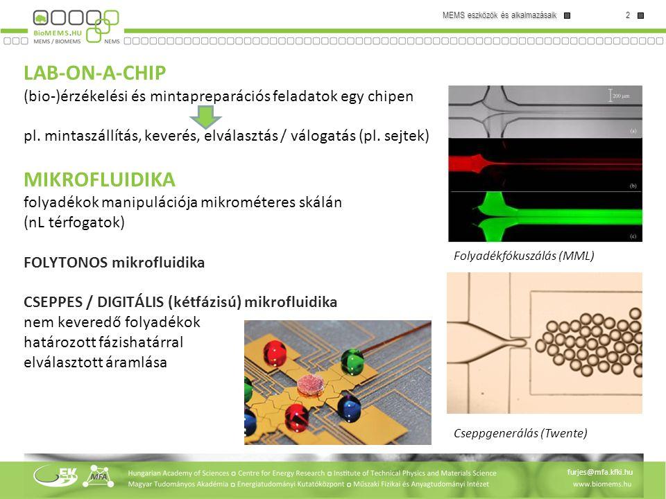 LAB-ON-A-CHIP (bio-)érzékelési és mintapreparációs feladatok egy chipen pl. mintaszállítás, keverés, elválasztás / válogatás (pl. sejtek) MIKROFLUIDIKA folyadékok manipulációja mikrométeres skálán (nL térfogatok) FOLYTONOS mikrofluidika CSEPPES / DIGITÁLIS (kétfázisú) mikrofluidika nem keveredő folyadékok határozott fázishatárral elválasztott áramlása