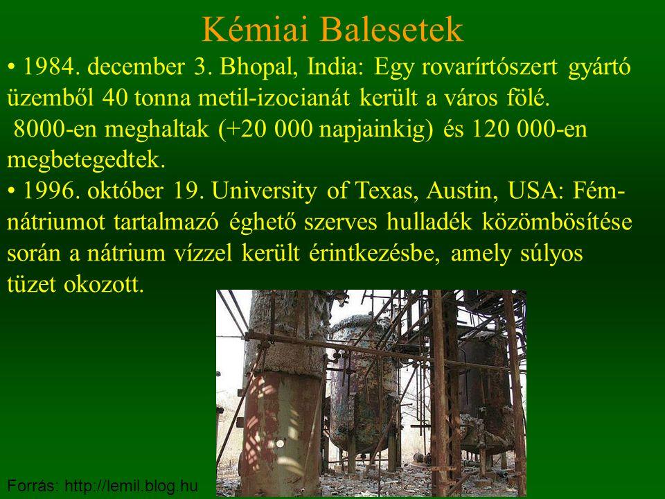 Kémiai Balesetek • 1984. december 3. Bhopal, India: Egy rovarírtószert gyártó üzemből 40 tonna metil-izocianát került a város fölé.